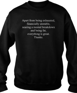 Apart from being exhausted financially unstable nearing a mental braekdown Sweatshirt