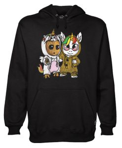 Unicorn Eyes Glasses And Baby Groot Hoodie