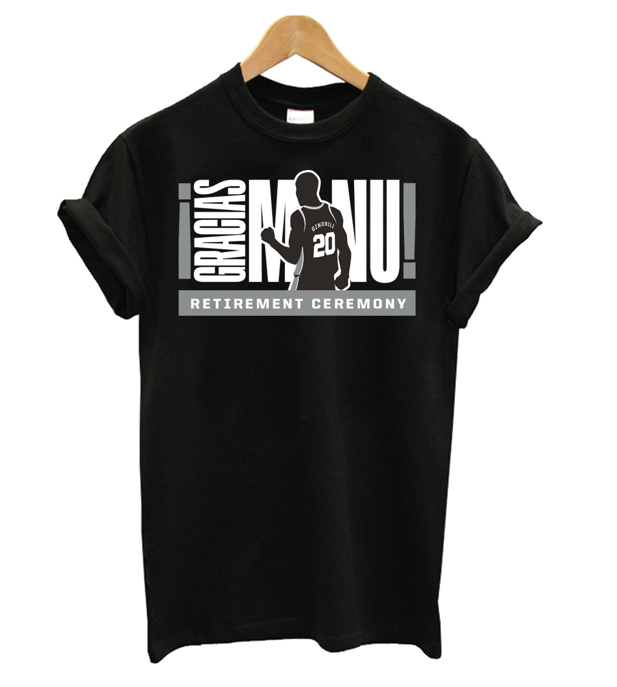 new styles 4edf1 c3536 Manu Ginobili Jersey Retirement Night T shirt