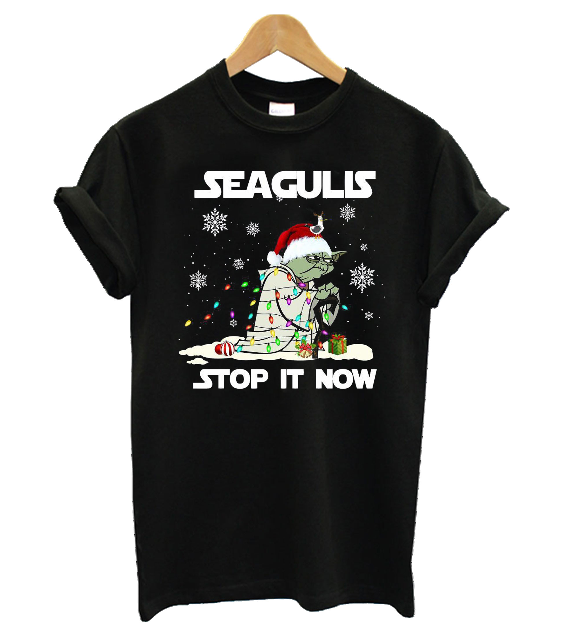 Star Wars Yoda Santa Seagulls Stop It Now Christmas T shirt